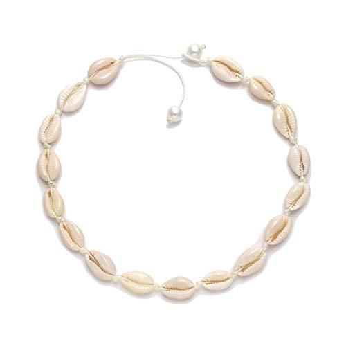 HEIDKRUEGER Natural Shell Choker Necklace Handmade Adjustable Cowrie Collar Boho Hawaii Summer Beach Necklace for Women Girls (White Pearl) ()
