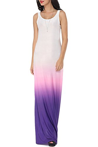 WIWIQS Women`s Tie Dye Ombre Dress Tank Top Casual Maxi Long Dress Purple And White M