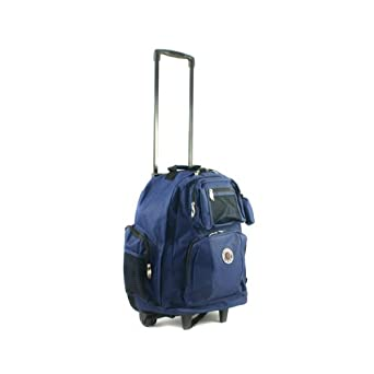 Transworld Roll-Away Deluxe Rolling Backpack – Navy Blue