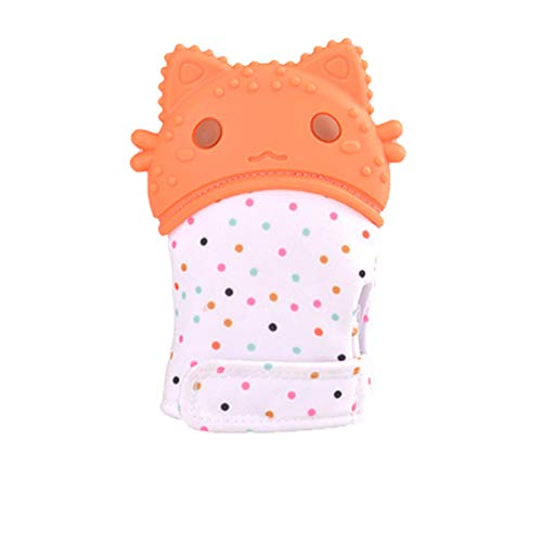 Moscare Baby Teething Mitten Dental Care Chewing Anti Bite Finger teether Toy Glove(BPA Free),Soothing Babies Relief Sore Gums(Orange)