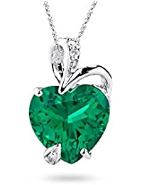0.02 Cts Diamond & 1.75-3.00 Cts Russian Lab Created Emerald Pendant in14K White Gold