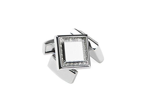 welbijoux Cufflinks for Men Unique Square Crystal Cuffllinks Luxury Tuxedo Shirts Silver Glass Cufflinks for Men 1 Set