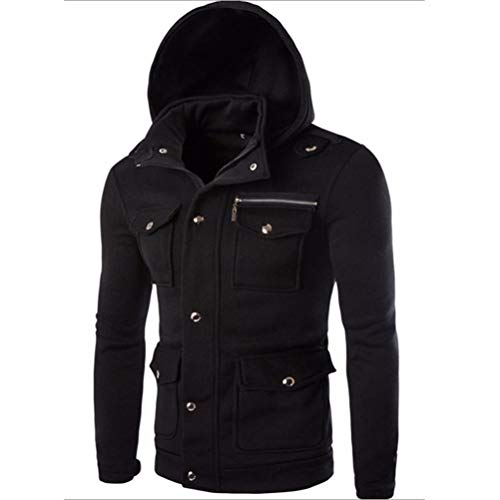 (SPE969 Swearshirt Men Pocket Solid Coat Jacket Sweater Hoodie Long Sleeve Outwear Black)