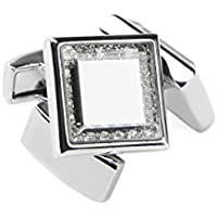 welbijoux Cufflinks for Men Unique Square Crystal Cuffllinks Luxury Tuxedo Shirts Silver Glass Cufflinks for Men 1 Set