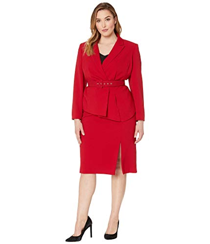 Tahari by ASL Women's Plus Size Pebble Crepe Skirt Suit with Draped Jacket Red 16 W Asl Womens Skirt Suit