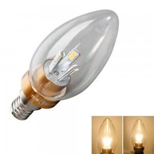 E14 2W 200LM 24 LED SMD3014 3000K Warm White Candle Tip Bulb Golden (85-265V)