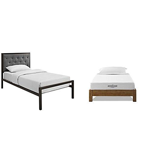 "Modway Mia Fabric Bed Frame, Twin, Brown Gray with Modway Aveline 6"" Gel Infused Memory Foam Twin Mattress With CertiPUR-US Certified Foam"
