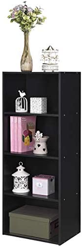 Giantex 4-Tier Bookshelf Bookcase Storage Cabinet with Open Shelves Modern Home Office Furniture for Living Room Bedroom Study Office Book Organizer Multifunctional Display Shelves Black