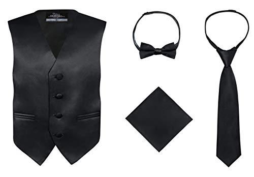 S.H. Churchill & Co. Boy's 4 Piece Vest Set, with Bow Tie, Neck Tie & Pocket Hankie, Black Size 14 ()
