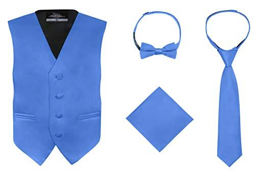 S.H. Churchill & Co. Boy's 4 Piece Vest Set, with Bow Tie, Neck Tie & Pocket Hankie, Royal Blue Size 10 (Set Bow Vest)