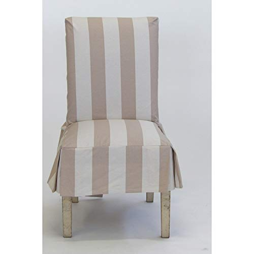 Classic Slipcovers Cabana Stripe Short Dining Chair Covers Set of 2 Taupe and Cream Stripe
