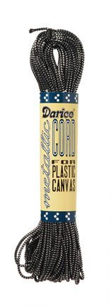 Darice Metallic Plastic Canvas Cord - Black and Silver - 27 yards