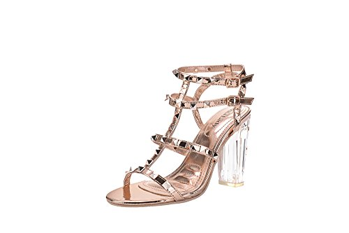 Mila Lady Erin 08 Womens Sexy Studded Lucite Clear Block Chunky Heel Sandals Dress Shoes, Champ 9