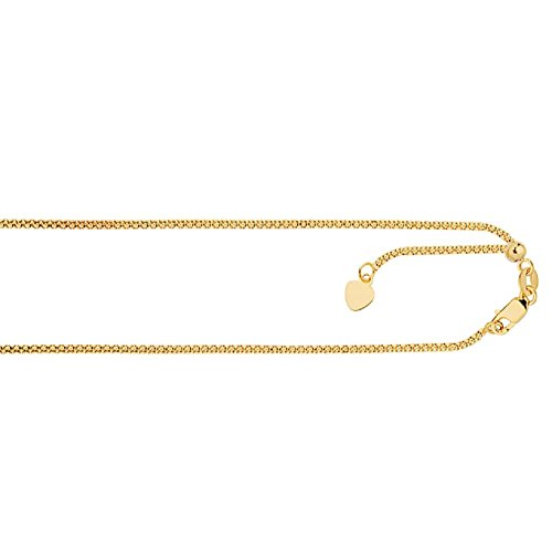 14kt Gold 1.3mm Diamond Cut Adjustable Popcorn Chain with Lobster Clasp & Small Heart Charm (Yellow) 14kt Gold Diamond Cut Charm