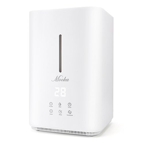 Mooka Ultrasonic Cool Mist Humidifier - 4L Large Capacity, Top Fill Water, Humidity Sensor, Timer, Whisper-quiet Operation with Adjustable Mist Mode for Home, Office, Bedroom, Baby room, White - Grey
