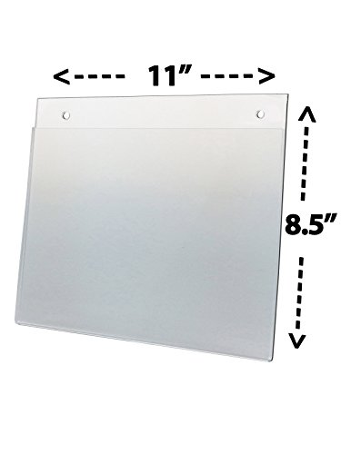 Deflect-O Corporation Wall Mount Sign Holder,Pre-Drilled,Landscape,11amp;quot;X8-1/2amp;quot,Clear Deflect O Wall Mount Sign