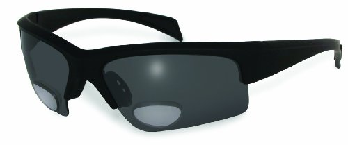 BluWater Polarized Bifocal 2 Sunglasses with 2.5 Magnification, Smoke Lens, Matte Black (Polarized Gray 400 Glass Lens)