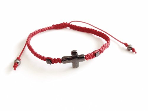 (Red string men's cross bracelet/Pulseras de hombre)
