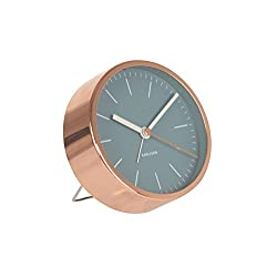Karlsson Alarm Clock Watch - Blue With Copper Case Sweep Silent Movement No Ticking