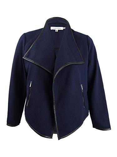 Calvin Klein Womens Plus Spring Waffle Knit Double Face Coat Navy 3X ()