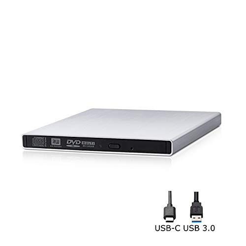 APRIME Metallic USB-C & USB 3.0 External CD DVD +/-RW Super-Multi Drive Rewriter Compatible with Win 10 / Mac OS High Sierra and Later