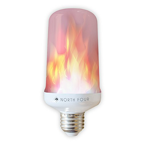 LED flame effect light bulb with 100 LED that flicker like real fire | Three lighting mode - can be used as a traditional bulb | Long lasting with energy - Upside Reading Down Glasses