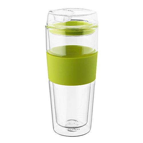 Takeya Double-Wall Glass Tea/Coffee Tumbler, Green, 16-Ounce