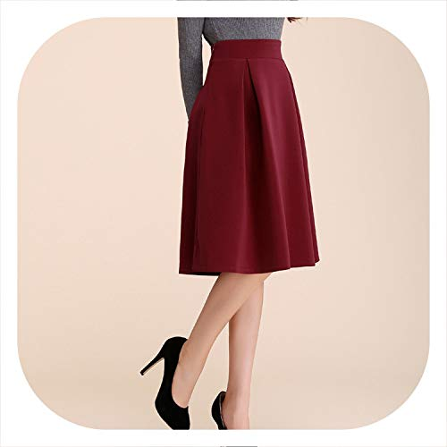 - Women Skirts Pure Color Restoring Ancient Ways Tall Waist Pleated Skirt Thickening Double Skirt,Red Wine,S