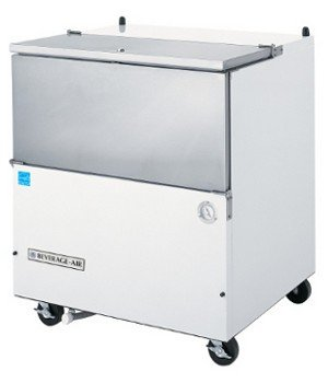 Milk Cooler 8 Crate - Beverage Air SM34N-W-02 Single Access Eight Crate Capacity Milk Cooler in White & Stainless