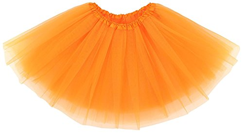 Adult Womens, Elastic Band 3 Layered Mini Tutu Soft Tulle Skirt,Teen,Girls(Orange)