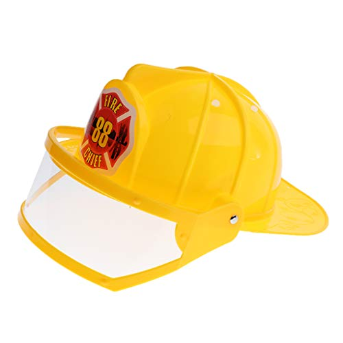 B Blesiya Children Fireman Helmet Firefighter Hat Fancy Dress Accessories Kids Halloween Party Role Play Toy –Yellow