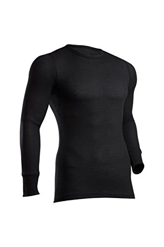 (ColdPruf Men's Zephyr Base Layer Long Sleeve Crew Neck Top, Black, X-Large)