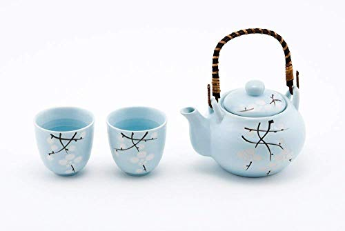 Japanese Soshun Cherry Blossom Sakura Sky Blue Tea Set Ceramic Teapot with Rattan Handle and 2 Tea Cups
