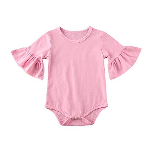 Infant Baby Girl Basic Bell Short Sleeve Cotton Romper Bodysuit Tops Clothes