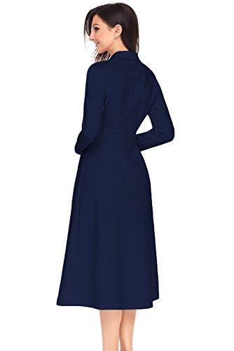 XAKALAKA V Breasted Neck A Women's Lapel Skater Navy Dress Line Double Vintage rwFBrq