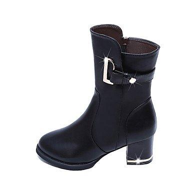 Gll Moda Negro amp;xuezi Botas De 7 Vestido Black Cms Cremallera Semicuero Mujer 5 Marrón Tacón Hebilla Invierno Robusto Casual qOqBIrwp