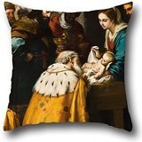 Magis Modern Chair - artistdecor Oil Painting Bartolomà Esteban Murillo - Adoration of The Magi Throw Pillow Case 20 X 20 Inch / 50 by 50 cm for Boys,Christmas,Indoor,Bench,Father,Dining Room with Two Sides