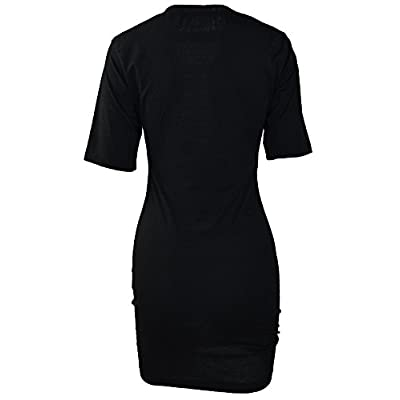 TOB Women's Sexy Halter Lace up Mini T Shirt Club Dress: Clothing