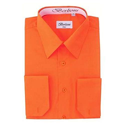 Men's Dress Shirt - Convertible French Cuffs ,Orange,2X-Large (18-18.5