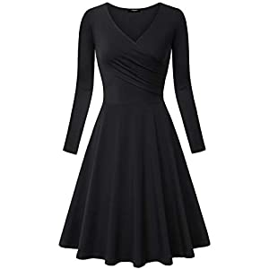 Lotusmile Women's Long Sleeve Elegant Vintage A Line Dress