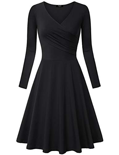 Lotusmile Flare Dress, Women's Pleated V Neck Long Sleeve Flare A Line Simple Plain Midi Dress (Small, Black)