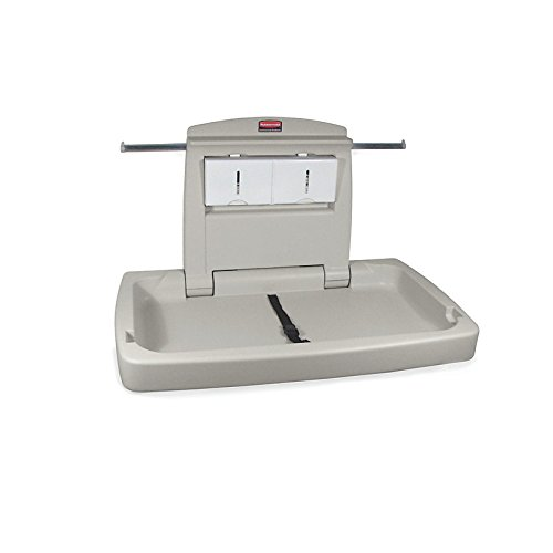 Changing Horizontal Station - Rubbermaid Commercial Horizontal Baby Changing Station, 33.25-Inch Length x 21.5-Inch Width x 4-Inch Height, Light Platinum (FG781888LPLAT)