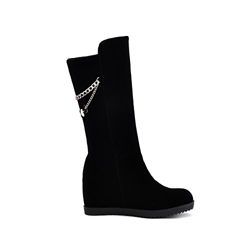 Toe Boots Closed Frosted Women's Solid Heels High Top Round Mid Black AmoonyFashion xnHvUwqq
