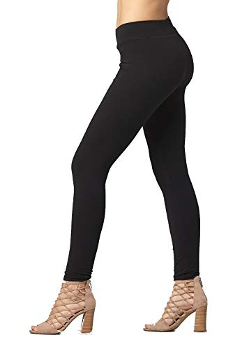 Premium Cotton Spandex Jersey Leggings - High Waist Yoga Waistband - 10 Colors - 6 Sizes (Black, Medium)