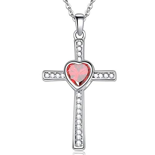 Jude Jewelers Stainless Steel Heart Shape Birthstone Cross Pendant Necklace (Jan-Garnet)