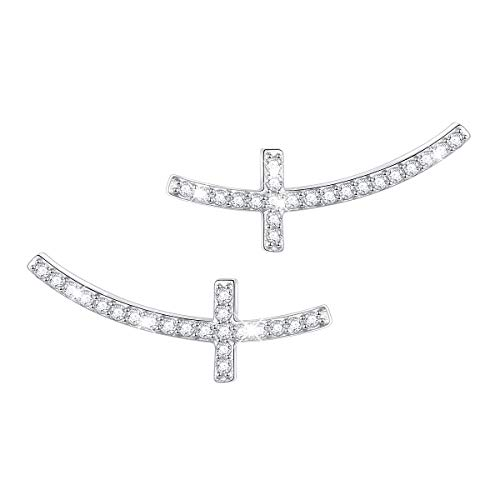ATHENAA S925 Sterling Silver Concise Sideways Cross Earring Stud for Women Girls (Earrings) ()