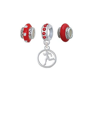 Silvertone Runner Silhouette in 1/2'' Disc Red Charm Beads (Set of 3) ()