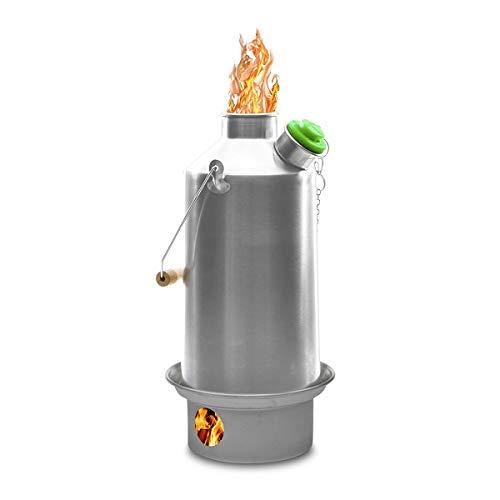 Campamento Kelly Kettle ® 1.6ltr (aluminio) - Camping hervidor de agua y estufa de campamento en uno. Ultra rápido ligera madera estufa alimentada.