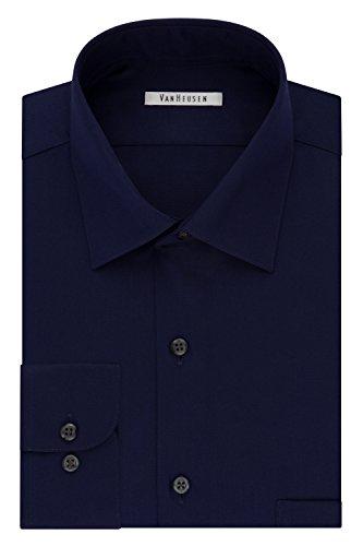 Van Heusen Men's Lux Sateen Regular Fit Solid Spread Collar Dress Shirt, Midnight, 16.5