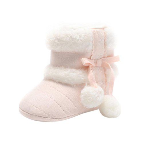 Baby Girls Winter Snow Boots with Bowknot (Red) - 8